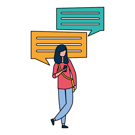 woman using cellphone chatting message vector illustration