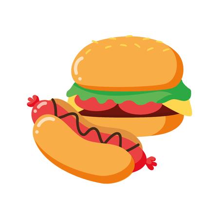 Hamburguesa y perrito caliente en la ilustración de vector de fondo blanco