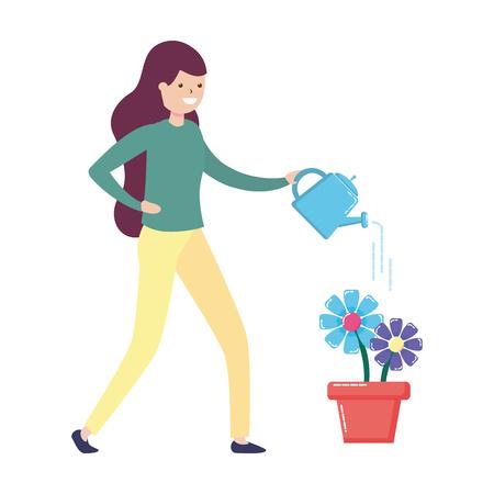 Femme arrosoir fleurs jardinage - mon hobby vector illustration