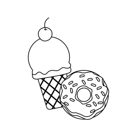 ice cream donut on white background vector illustration