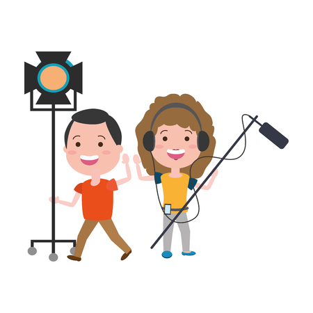 couple with movie objects avatar character vector illustration desing