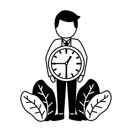 businessmen clock time on white background Çizim