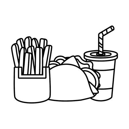 taco french fries and soda food vector illustration Archivio Fotografico - 124268027