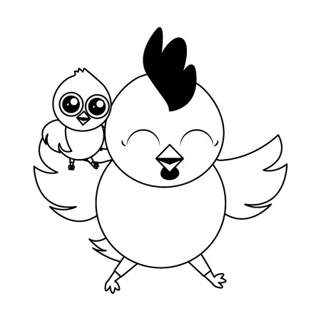 cute hen and chick cartoon vector illustration Foto de archivo - 124268032