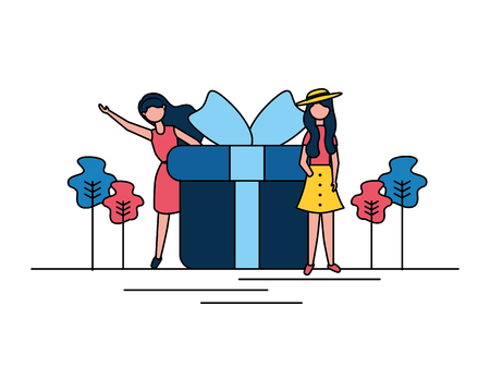 woman gift box online shopping vector illustration Illustration