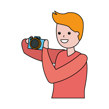 man taking photo with camera vector illustration