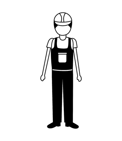 construction worker in overall uniform vector illustration 矢量图像