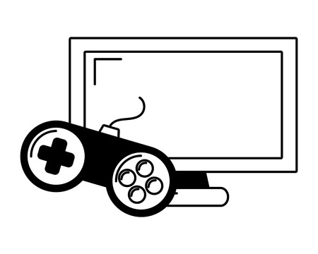 monitor controller video game on white background vector illustration