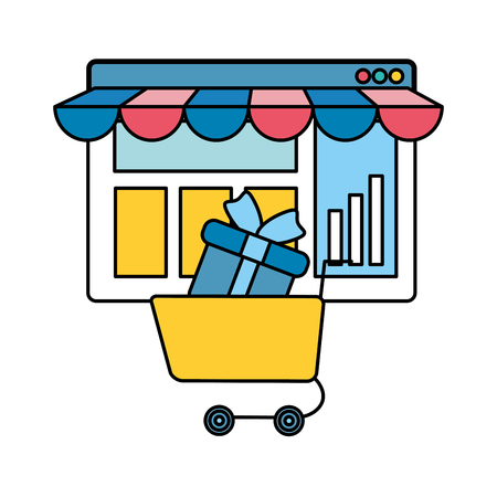 webpage template with ecommerce cart shopping vector illustration design