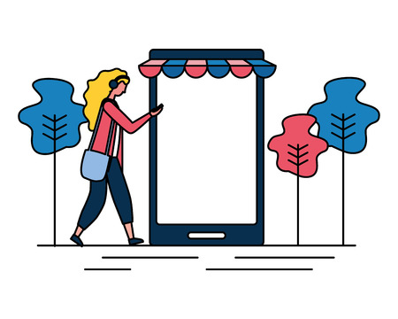 woman online shopping cellphone app vector illustration Illustration