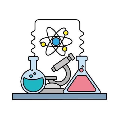 science laboratory tools test tube microscope vector illustration Stock Illustratie
