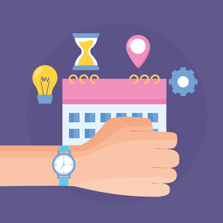 hand with watch work time calendar idea vector illustration