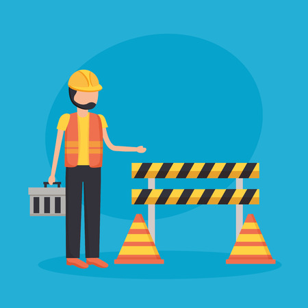 construction workers barrier toolbox traffic cone vector illustration  イラスト・ベクター素材