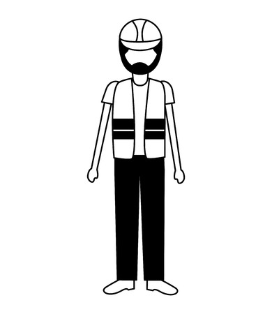 worker construction with helmet and vest vector illustration 矢量图像