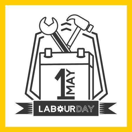 happy labour day tools calendar vector illustration Illustration