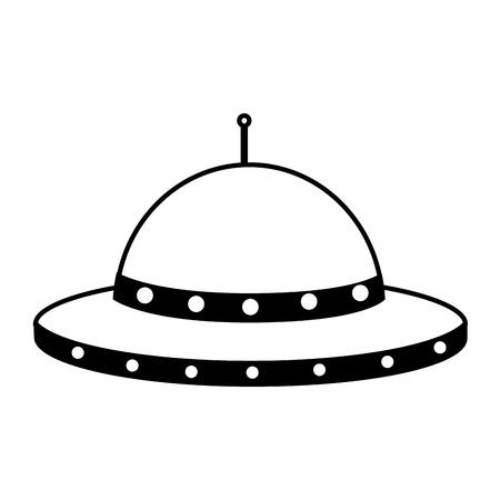 vaisseau spatial ufo sur fond blanc vector illustration
