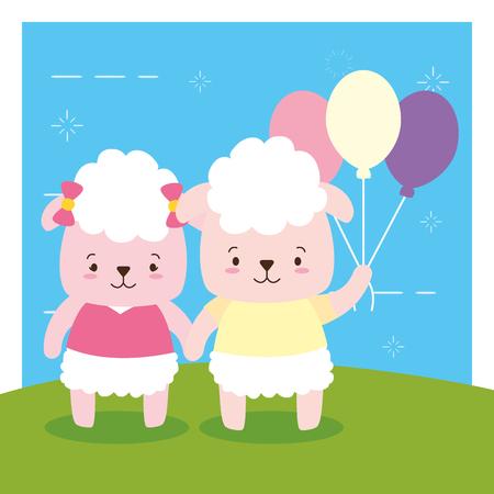 cute couple sheep animal cartoon vector illustration design Illustration