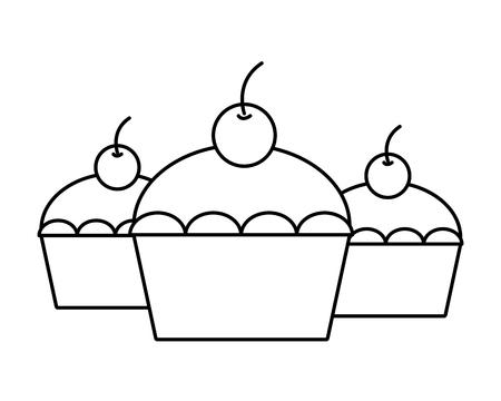 sweet cupcakes dessert with cherries vector illustration Illusztráció