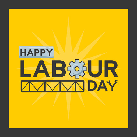 happy labour day greeting card vector illustration