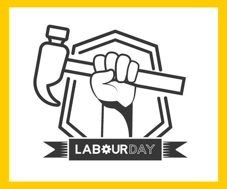 happy labour day hand with hammer label vector illustration