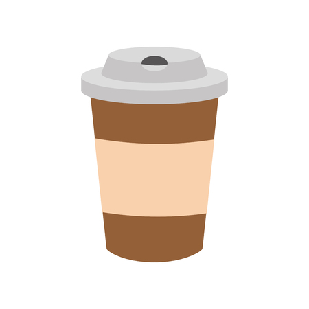 disposable coffee cup on white background vector illustration Stock Illustratie