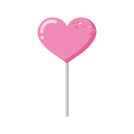 sweet lollipop heart on white background vector illustration Foto de archivo - 119536884