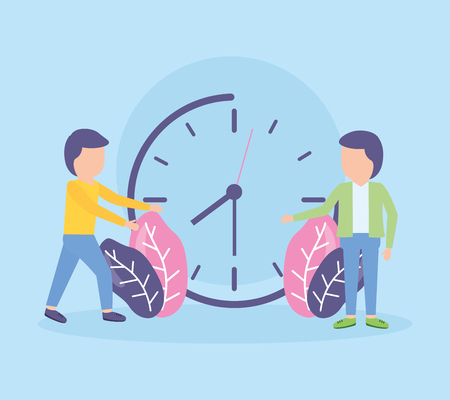 businessmen clock time work vector illustration design