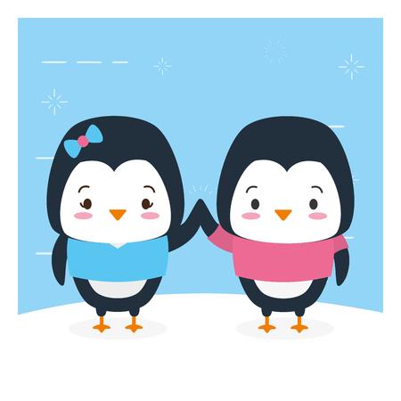 cute couple penguin animal cartoon vector illustration design