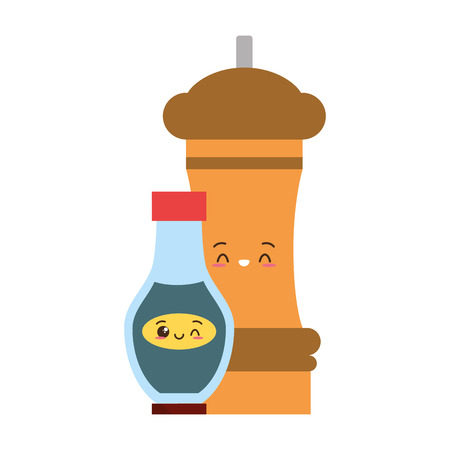 pepper and sauce food ingredients vector illustration