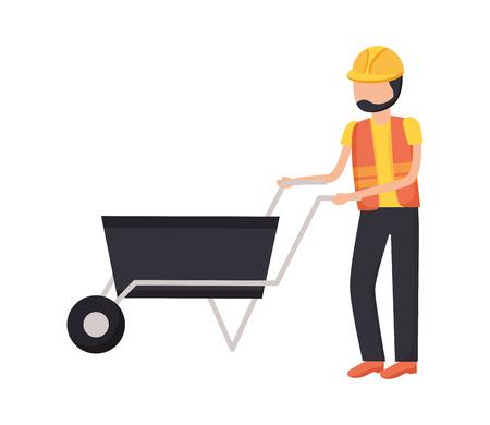 worker with wheelbarrow construction tool vector illustration design Standard-Bild - 124268401