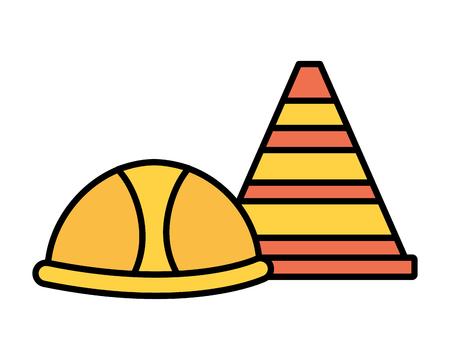 helmet and traffic cone tool construction equipment vector illustration Archivio Fotografico - 124268420