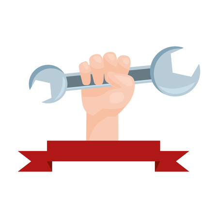happy labour day hand with wrench vector illustration Фото со стока - 124268426