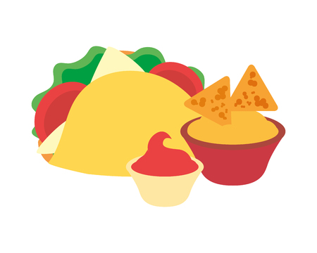taco nachos cheese and sauce fast food vector illustration Stock fotó - 119485279