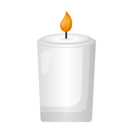 burning candle flame on white background vector illustration design 向量圖像