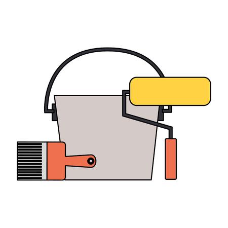 bucket roller brush tool construction equipment vector illustration