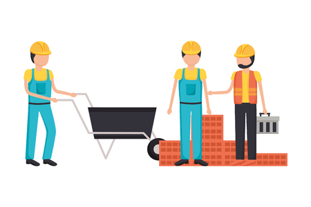 workers construction wheelbarrow bricks toolbox vector illustration 版權商用圖片 - 119476710