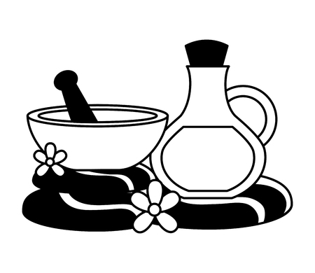 oil bottle bowl stones flower spa therapy vector illustration