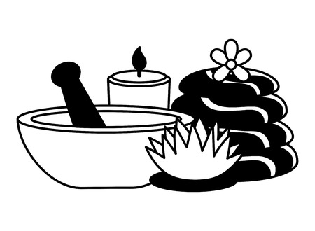 bowl stones candle flowers spa treatment therapy vector illustration Иллюстрация