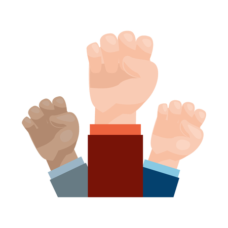 raised hands strong on white background vector illustration