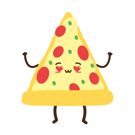 kawaii cartoon pizza character vector illustration design