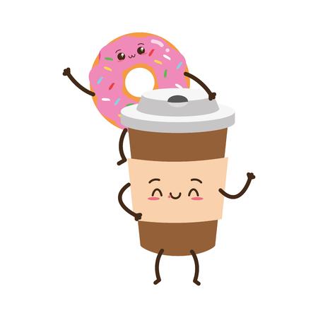 kawaii donut coffee cup fast food cartoon vector illustration Standard-Bild - 119485283