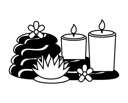 candles hot stones flowers spa treatment therapy vector illustration Vecteurs