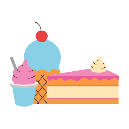 ice cream cake cone sweet vector illustration Imagens - 124268573