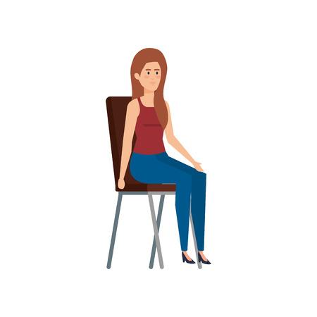 young woman sitting in chair vector illustration design Ilustração