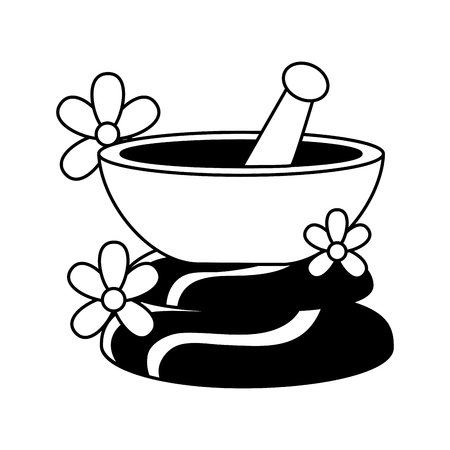 bowl stones flowers spa treatment therapy vector illustration