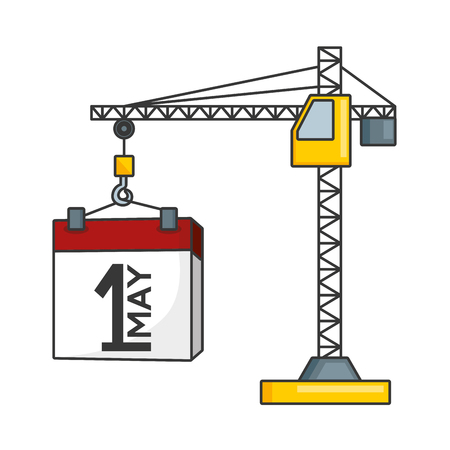 happy labour day calendar and crane vector illustration Standard-Bild - 124268600