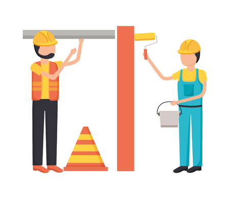workers construction bricks painting roller equipment vector illustration