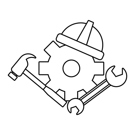 happy labour day wheel helmet hammer spanner tools vector illustration Foto de archivo - 124268608