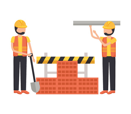 workers construction shovel wall brick equipment vector illustration Foto de archivo - 124268610