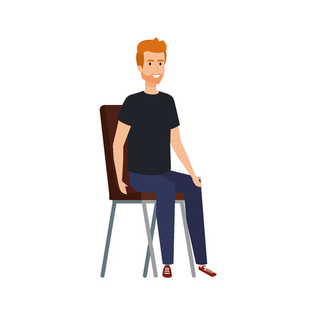 young and casual man sitting in chair vector illustration design Иллюстрация